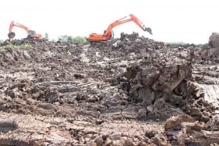Reservoir construction site public project at Nong Lit-thi, Muang Mahasarakham, Thailand Stock Photo - 16373099