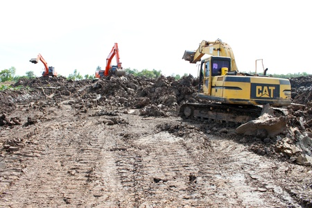 Reservoir construction site public project at Nong Lit-thi, Muang Mahasarakham, Thailand Stock Photo - 16373102