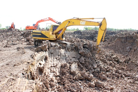 Reservoir construction site public project at Nong Lit-thi, Muang Mahasarakham, Thailand Stock Photo - 16373096