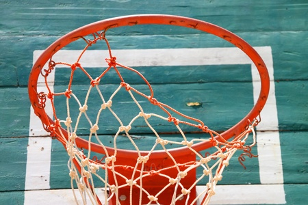 the height of a rim: Old basketball net and green board