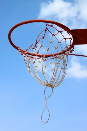 Basketball net against blue sky background photo