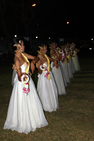 MUANG, MAHASARAKHAM - DECEMBER 4 : Unidentified dancers are performing Thai dance in night party on December 4, 2012 at provincial governor house, Muang, Mahasarakham, Thailand.