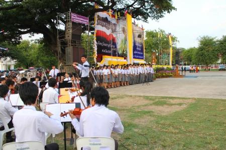 collegian: MUANG, MAHASARAKHAM - DECEMBER 5 : Unidentified collegians of Mahasarakham university are performing symphony orchestra for celebration the king