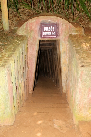 Entrance to underground tunnel used during B52 carpet bombing - Vinh Moc, Quang Tri, Vietnam Editorial