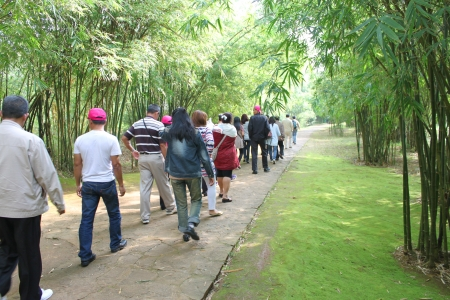 VINH MOC, QUANG TRI, VIETNAM - DECEMBER 10 : Unidentified tourists are walking to see underground tunnel used during B52 carpet bombing between Vietnam war on December 10, 2012 at Vinh Moc, Quang Tri, Vietnam.