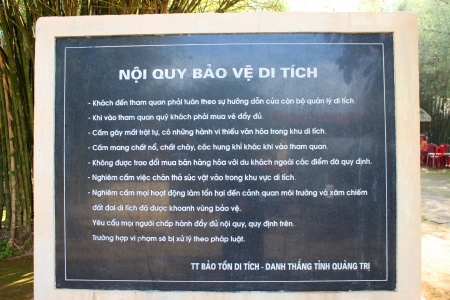 The information sign at gateway and entrance of underground tunnel used during B52 carpet bombing between Vietnam war at Vinh Moc, Quang Tri, Vietnam.