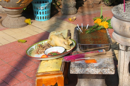 Boiled chicken for worshipping the shrine of city pillar on DECEMBER 12, 2012 at Muang, Mahasarakham, Thailand.