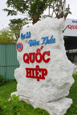 The company sign of carving marble statues trading on December 8, 2012 at Non Nuoc carving village, Da Nang, Vietnam.