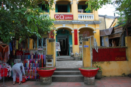 emporium: Shopping and trading center on walking street and cycling of world heritage old town on December 8, 2012 at Hoi An, Vietnam. So wonderful with old aged traditionally kept cultural activities, habits and customs, Hoai An town is now a wonderful living urba