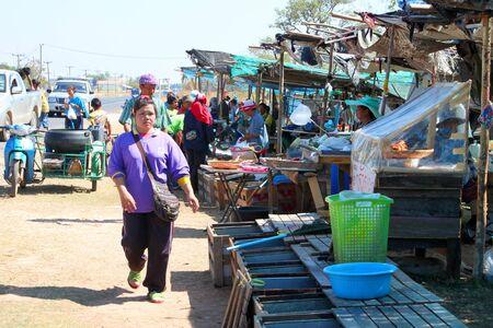 PAYAKKAPHUMPHISAI, MAHASARAKHAM - JANUARY 1 : The unidentified women are selling fresh fishes on January 1, 2012 at outdoor fishes market, Payakkaphumphisai, Mahasarakham, Thailand. Stock Photo - 17063338