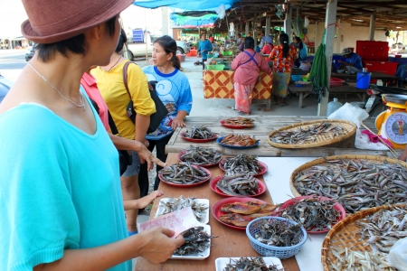 CHUMPONBURI, SURIN - NOVEMBER 10 : The unidentified woman is buying dried fishes on November 10, 2011 at outdoor fishes market, Chumponburi, Surin, Thailand. Stock Photo - 17063351