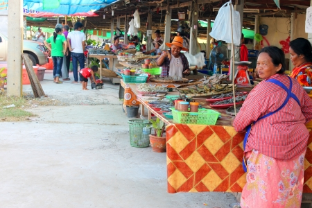 CHUMPONBURI, SURIN - NOVEMBER 10 : The unidentified women are selling dried fishes on November 10, 2011 at outdoor fishes market, Chumponburi, Surin, Thailand. Stock Photo - 17063356