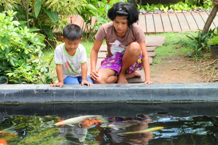 public aquarium: MUANG, BURIRAM - APRIL 8 : Unidentified children are looking at fishes in local aquarium garden park on April 8, 2012 at Muang, Buriram, Thailand.