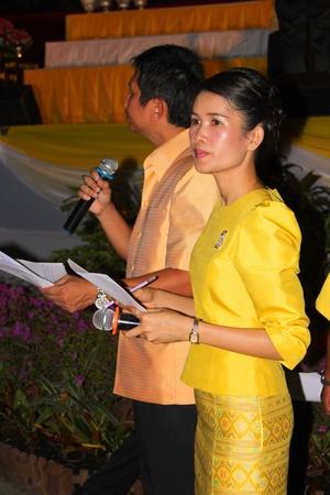 ix portrait: MUANG, MAHASARAKHAM - DECEMBER 5 : Unidentified masters of ceremonies are celebrating the king Rama IX birthday on December 5, 2012 at city hall ground, Muang, Mahasarakham, Thailand. Editorial