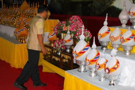 ix: MUANG, MAHASARAKHAM - DECEMBER 5 : Unidentified man is celebrating the king Rama IX birthday on December 5, 2012 at city hall ground, Muang, Mahasarakham, Thailand.