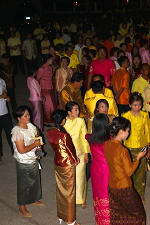 ix: MUANG, MAHASARAKHAM - DECEMBER 5 : Unidentified people are celebrating the king Rama IX birthday on December 5, 2012 at city hall ground, Muang, Mahasarakham, Thailand.