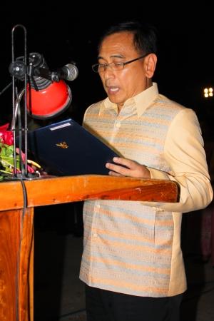 MUANG, MAHASARAKHAM - DECEMBER 5 : Provincial governor, Mr.Noppawat Singhsakda is praising and celebrating the king Rama IX birthday on December 5, 2012 at city hall ground, Muang, Mahasarakham, Thailand. Editorial