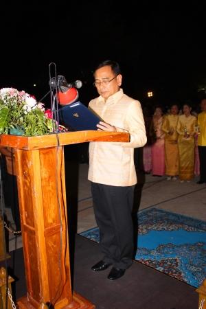 MUANG, MAHASARAKHAM - DECEMBER 5 : Provincial governor, Mr.Noppawat Singhsakda is praising and celebrating the king Rama IX birthday on December 5, 2012 at city hall ground, Muang, Mahasarakham, Thailand. Stock Photo - 17118473