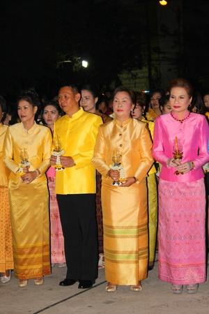 MUANG, MAHASARAKHAM - DECEMBER 5 : Unidentified people are celebrating the king Rama IX birthday on December 5, 2012 at city hall ground, Muang, Mahasarakham, Thailand. Stock Photo - 17118481