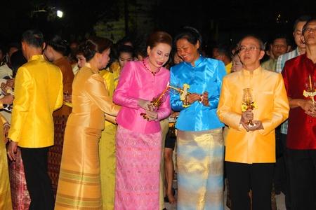 MUANG, MAHASARAKHAM - DECEMBER 5 : Unidentified people are celebrating the king Rama IX birthday on December 5, 2012 at city hall ground, Muang, Mahasarakham, Thailand. Stock Photo - 17118486