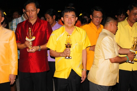 MUANG, MAHASARAKHAM - DECEMBER 5 : Unidentified people are celebrating the king Rama IX birthday on December 5, 2012 at city hall ground, Muang, Mahasarakham, Thailand. Stock Photo - 17118483