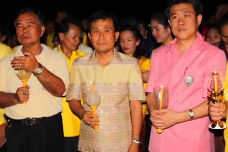 MUANG, MAHASARAKHAM - DECEMBER 5 : Unidentified people are celebrating the king Rama IX birthday on December 5, 2012 at city hall ground, Muang, Mahasarakham, Thailand. Stock Photo - 17118472