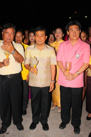 MUANG, MAHASARAKHAM - DECEMBER 5 : Unidentified people are celebrating the king Rama IX birthday on December 5, 2012 at city hall ground, Muang, Mahasarakham, Thailand. Stock Photo - 17118471