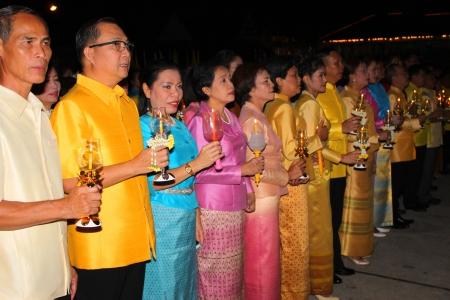 MUANG, MAHASARAKHAM - DECEMBER 5 : Unidentified people are celebrating the king Rama IX birthday on December 5, 2012 at city hall ground, Muang, Mahasarakham, Thailand. Stock Photo - 17118480