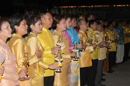 MUANG, MAHASARAKHAM - DECEMBER 5 : Unidentified people are celebrating the king Rama IX birthday on December 5, 2012 at city hall ground, Muang, Mahasarakham, Thailand. Stock Photo - 17118477