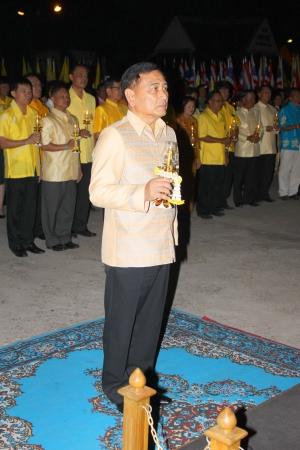 MUANG, MAHASARAKHAM - DECEMBER 5 : Provincial governor, Mr.Noppawat Singhsakda and people are celebrating the king Rama IX birthday on December 5, 2012 at city hall ground, Muang, Mahasarakham, Thailand. Stock Photo - 17118485