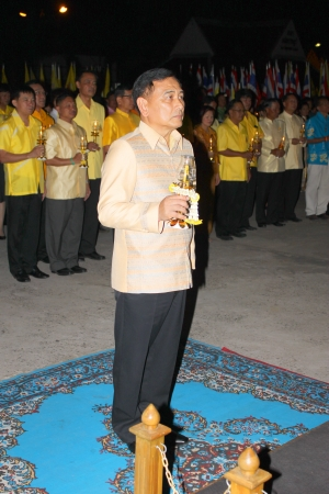 ix portrait: MUANG, MAHASARAKHAM - DECEMBER 5 : Provincial governor, Mr.Noppawat Singhsakda and people are celebrating the king Rama IX birthday on December 5, 2012 at city hall ground, Muang, Mahasarakham, Thailand. Editorial