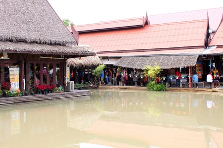 AYUTTHAYA, THAILAND - JANUARY 6 : Unidentified tourists are traveling to Ayothaya Floating Market on January 6, 2013 at Ayutthaya, Thailand. Stock Photo - 17356161