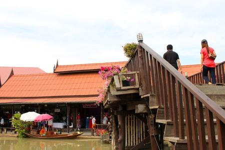 AYUTTHAYA, THAILAND - JANUARY 6 : Unidentified tourists are traveling to Ayothaya Floating Market on January 6, 2013 at Ayutthaya, Thailand. Stock Photo - 17356136
