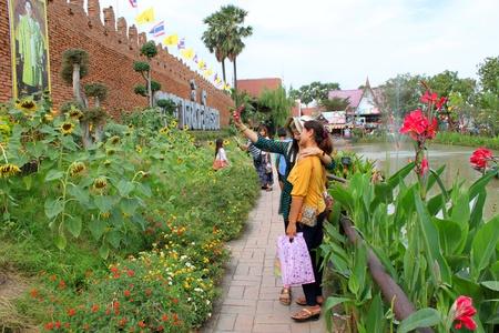 ayothaya: AYUTTHAYA, THAILAND - JANUARY 6 : Unidentified tourists are taking photograph at Ayothaya Floating Market on January 6, 2013 at Ayutthaya, Thailand.