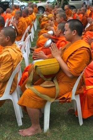ix: MUANG, MAHASARAKHAM - DECEMBER 5 : Unidentified monks are making religious merit and celebrating the king Rama IX birthday on December 5, 2012 at city hall ground, Muang, Mahasarakham, Thailand.