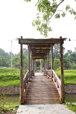 Wooden bridge and welcome entrance on October 14, 2012 at Pak Chong Floating Market, Korat, Thailand. Stock Photo - 17712819
