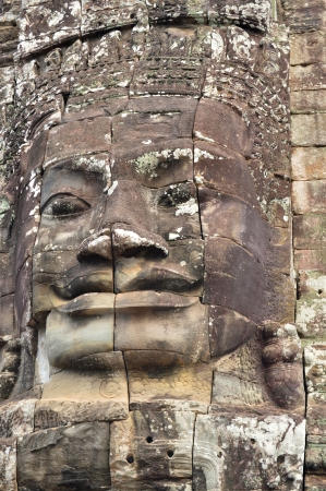indo china: Stone carving of classical Khmer construction at The Bayon Stock Photo