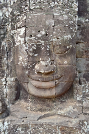 Stone carving of classical Khmer construction at The Bayon photo