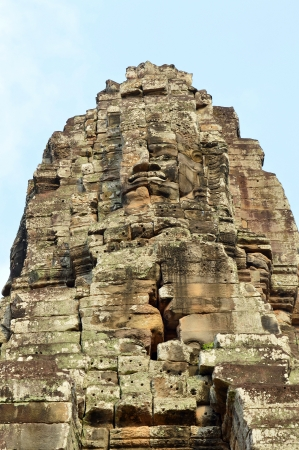 handscraft: Stone carving of classical Khmer construction at The Bayon Stock Photo