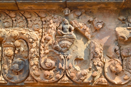 handscraft: Stone carving of classical Khmer construction at Banteay Srei, the name means Citadel of the Woman or Citadel of Beauty.
