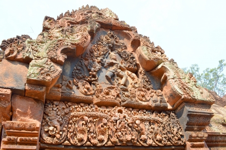 Stone carving of classical Khmer construction at Banteay Srei, the name means Citadel of the Woman or Citadel of Beauty.