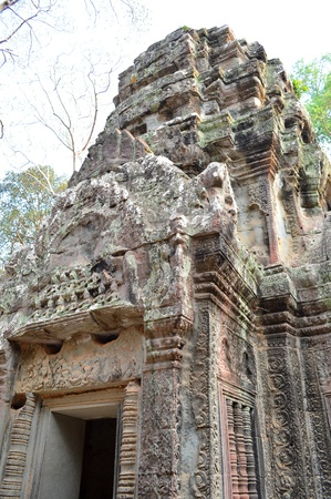 Stone carving of classical Khmer construction at Prasat Ta Prohm photo