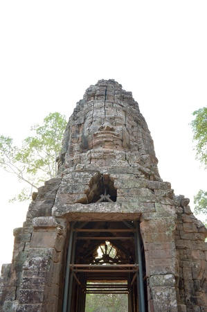 handscraft: Stone carving of classical Khmer construction at Prasat Ta Prohm