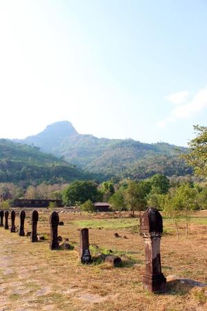 handscraft: Boundary posts of causeway to classical Lao P.D.R. construction at Prasat Vat Phou Stock Photo