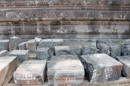 indo china: Broken carving stones of classical Lao P.D.R. construction at Prasat Vat Phou Stock Photo