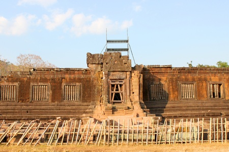 indo china: Classical Lao P.D.R. construction at Prasat Vat Phou