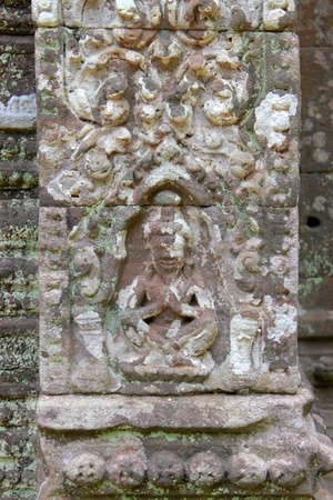 indo china: Stone carving of classical Lao P.D.R. construction at Prasat Vat Phou