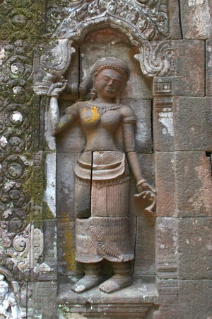 handscraft: Stone carving of classical Lao P.D.R. construction at Prasat Vat Phou