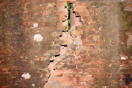 handscraft: Broken bricks wall of classical Lao P.D.R. construction at Prasat Vat Phou