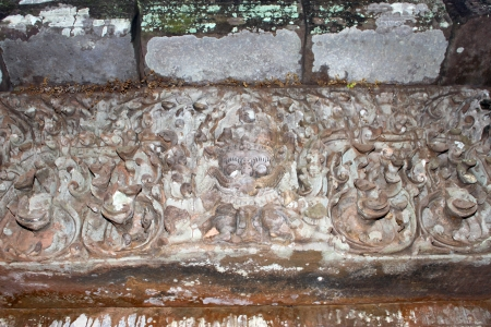 handscraft: Stone carving of classical Lao P.D.R. construction at Prasat Vat Phou